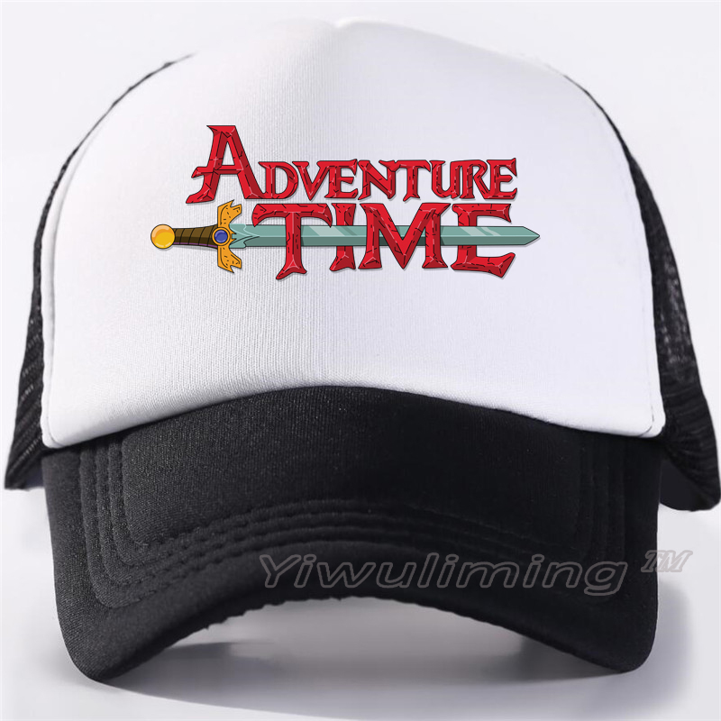 New Summer Trucker Caps Adventure Time Cool Summer Black Adult Cool Baseball Mesh Net Trucker Caps Hat For Men Adjustable