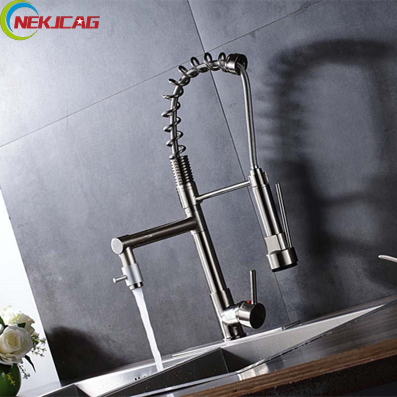 New Arrival Nickel Brushed Kitchen Mixer Cold and Hot Tap Single Handle Sprayer Faucet Sink Tap