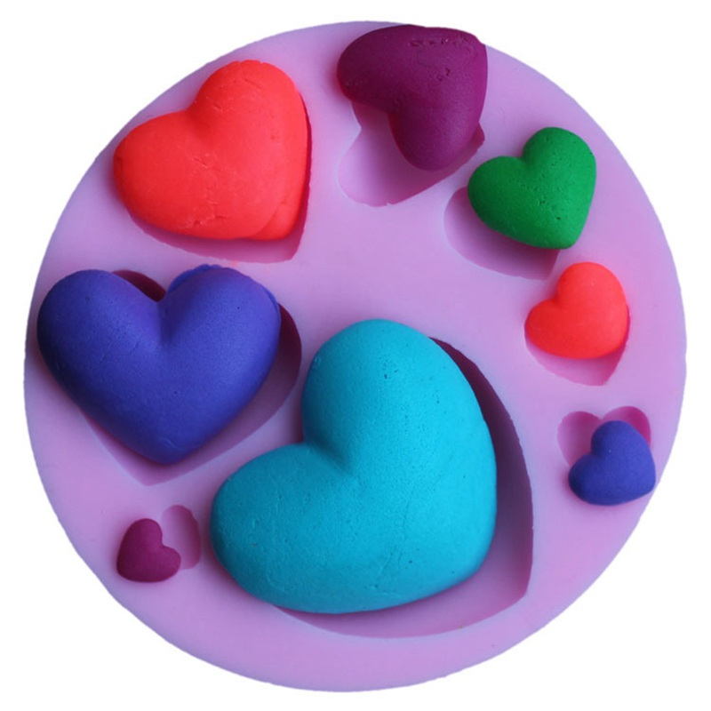 Various Love Heart Silicone Mold Soap Mould 3D Fondant Mold Cake Chocolate Pastry Craft Cake Decorating Soap Making Supplies