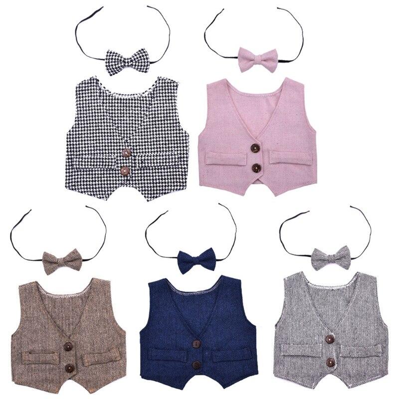 Для новорожденных жилетка для мальчиков галстук-бабочка комплект костюм наряды для фотосессий