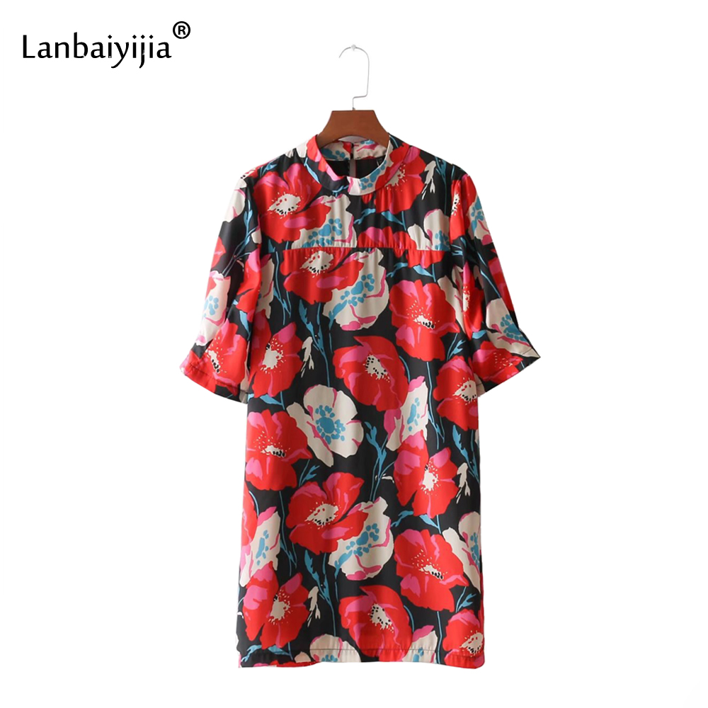 Lanbaiyijia date élégant imprimé floral Mini robe demi manches o-cou rétro femme droite lâche printemps femmes dresse la taille S M L
