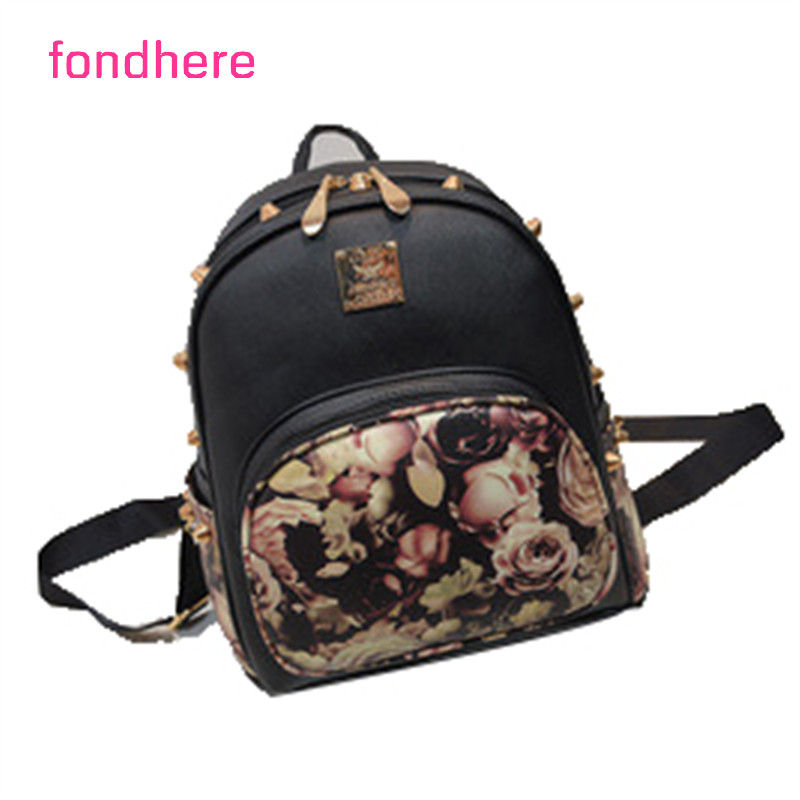 купить fondhere 2017 Women Beatiful Flowers Backpack Cute Bag PU Leather Fashion Shoulder Bag Travel Back Pack Girls Backpack недорого