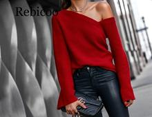 Women Off Shoulder Sexy Knitted Red Sweater Autumn Winter Irregular Neck Loose Knitwear Long Sleeve Female Pullover Jumpers цена