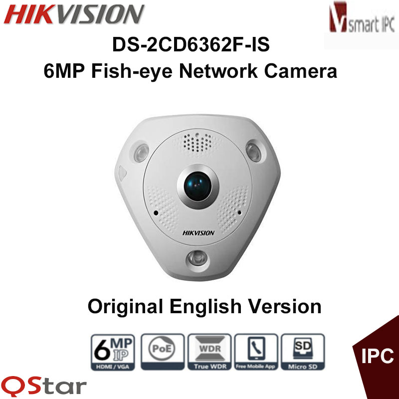 Hikvision Original English IP Camera DS-2CD6362F-IS DS-2CD6362F-IVS 6MP Poe Audio Fisheye View 360 Surveillance CCTV Camera hikvision original english cctv camera ds 2cd2142fwd is 4mp fixed dome ip camera poe audio ip67 junction box ds 1280zj dm18