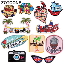 ZOTOONE Colorful Wild Patches for Clothing Diy Clothes Patch Applications Badges National Flags Sewing Garments