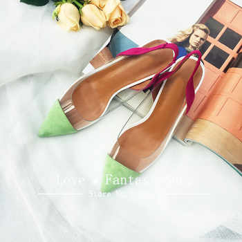 New transparent women sandals sexy pointed toe shallow slip on ladies shoes elegant outwear geninue leather summer 2018