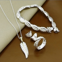 2014 Brand Fashion Jewelry Sets Feather Shape Ring Earrings Necklace Bracelet New Trendy Statement Sliver Plated