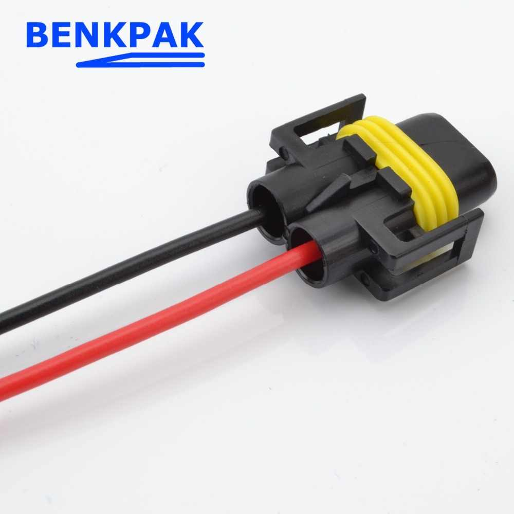 small resolution of  50pcs h8 h11 female adapter wiring harness socket car wire connector cable plug for hid led
