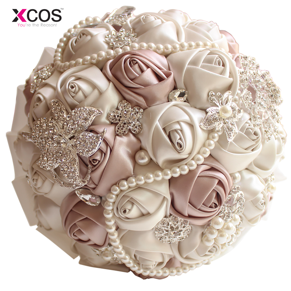 In stock gorgeous beaded crystal wedding bouquet ivory rose in stock gorgeous beaded crystal wedding bouquet ivory rose bridesmaid flowers artificial sapphire pearl bridal bouquets in wedding bouquets from weddings izmirmasajfo