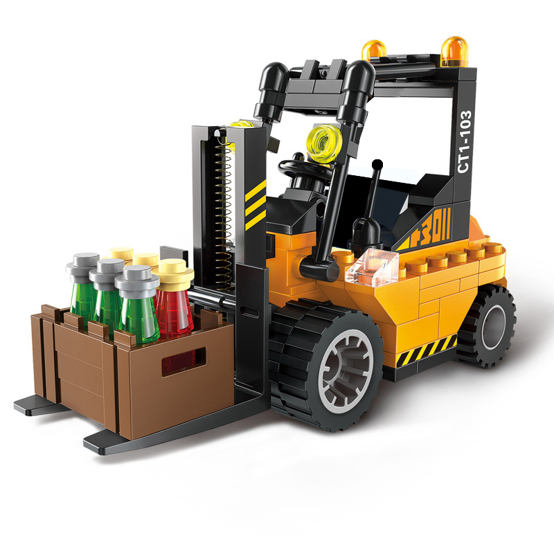 City Block Forklift Sweeper Car Tractor Road Roller Mini Building Educational Blocks Kids Toys Compatible With Legoed 1101-1104 loz mini diamond block world famous architecture financial center swfc shangha china city nanoblock model brick educational toys