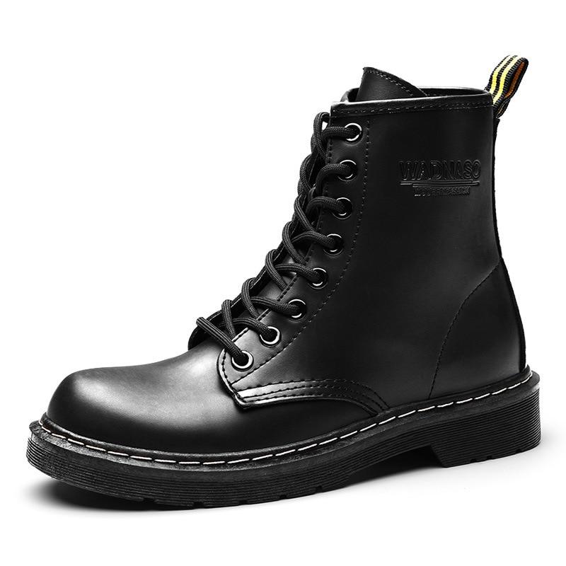 Il trasporto libero 2018 Autunno e in inverno impermeabile stivali di Pelle Martin stivali delle Donne Britanniche scarpe con gli stivali invernali size 4 -12