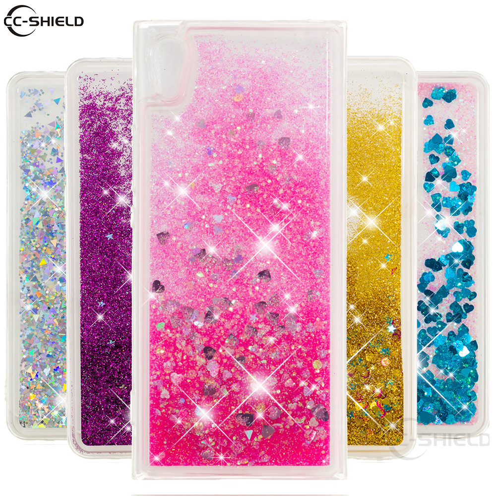 Half-wrapped Case Bling Phone Case For Sony Xperia Xz Xzs S Glitter Dynamic Liquid Quicksand Fitted Cover F8331 F8332 G8232 G8231 Back Cases Funda