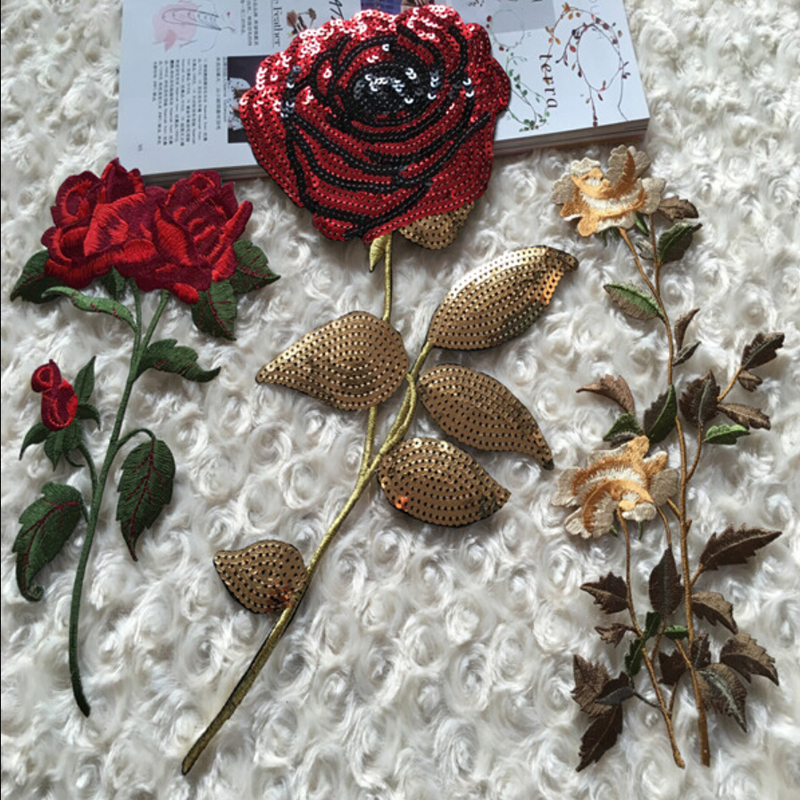 Aliexpress buy newest gold sequins embroidered roses