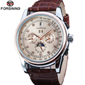 FORSINING Watches Men Genuine Automatic Self Wind Leather Strap Sun Sky Mechanical Moon Phase Man Watches