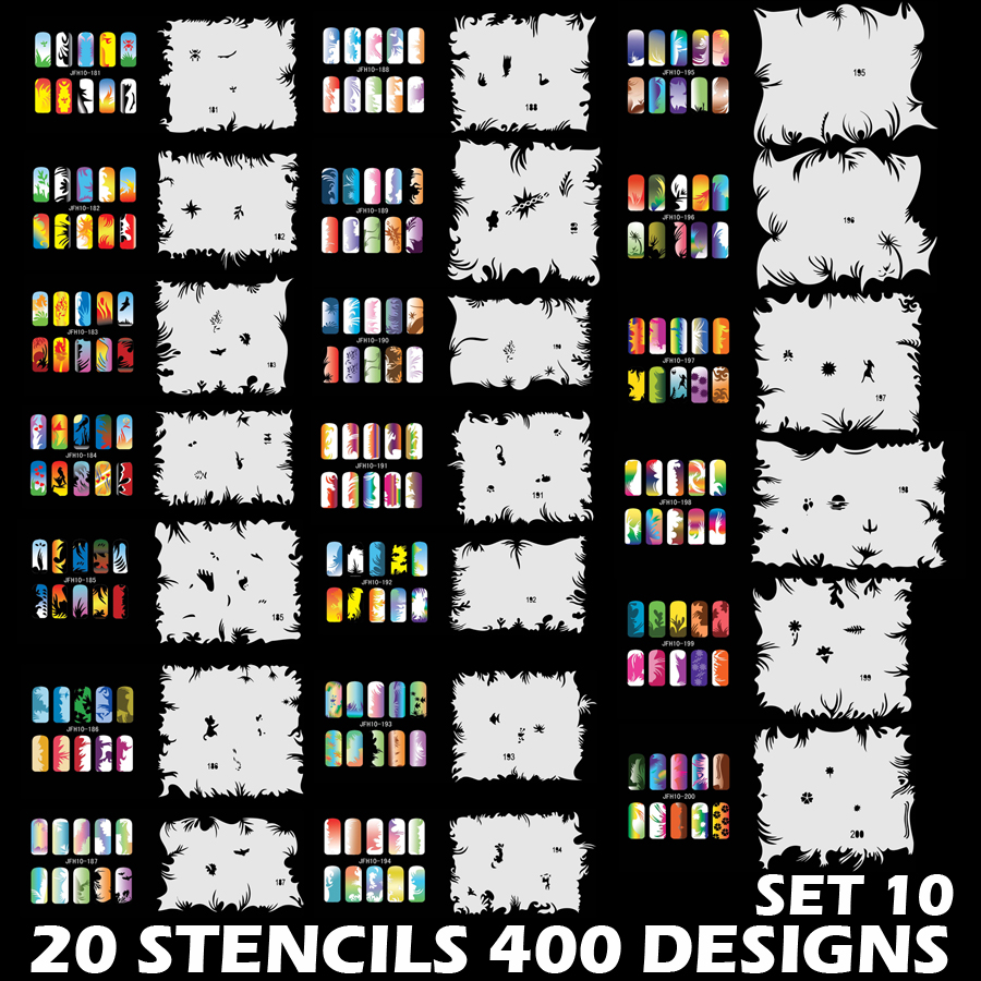 CreatColo Custom Body Art Airbrush Nail Art Templates Stencil Set 10 with 20 Stencil Template Design Sheets 400 Designs diy nail art printer machine with 5 metal design templates retail sales free drop shipping