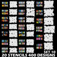 CreatColo Custom Body Art Airbrush Nail Art Templates Stencil Set 10 with 20 Stencil Template Design Sheets 400 Designs