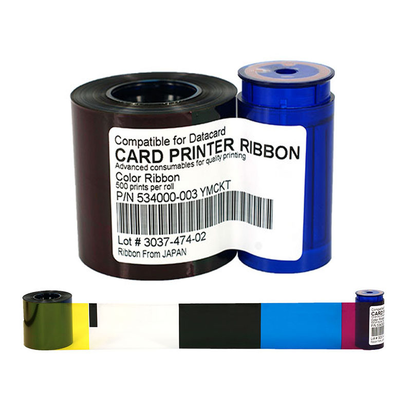 534000-003 YMCKO Ribbon 552854-504 Printer color Ribbon 500rints/roll For Datacard SD260 SD360 SP35 SP55 SP75 Plus Ribbon wrangler wrangler w443y570l