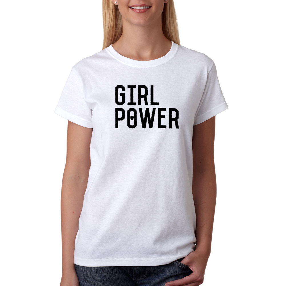 Gildan Girl Power Womens White T-Shirt NEW Sizes S-XL Funny Clothe Tee T Shirt Female Harajuk Fashion Drake Fitness Punk Tops