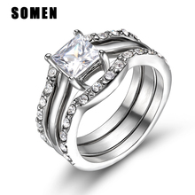 Clear Cubic Zirconia Stainless Steel Ring Set Women Wedding Band Engagement Rings Fashion Bridal Jewelry alliance anel alianza цены онлайн