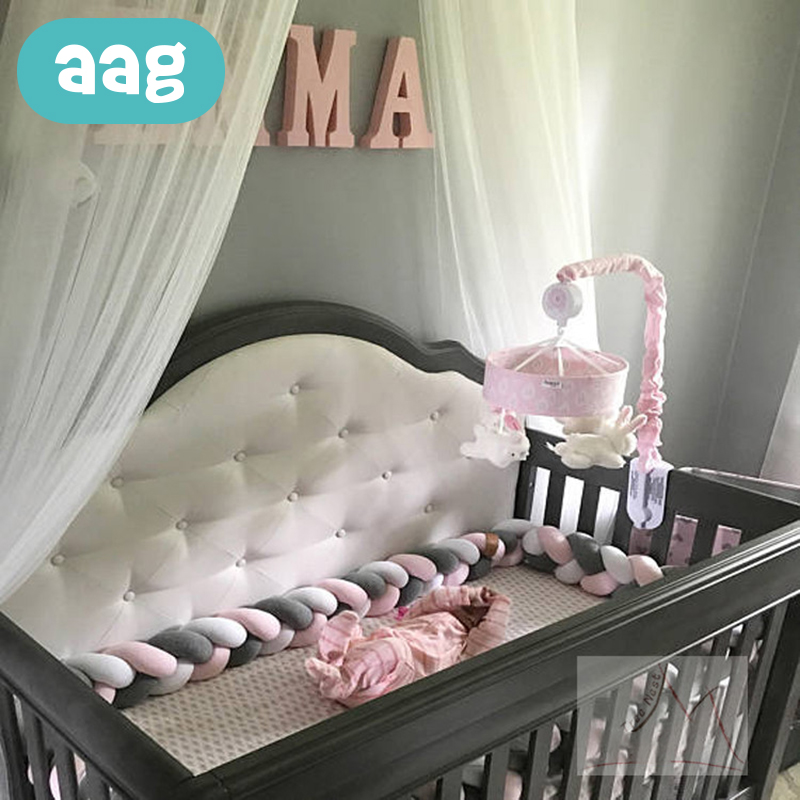 AAG 3M 4M Newborn Baby Bed Bumper Weaving Plush Knot Crib Bumper Long Knotted Braid Pillow