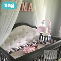 AAG 2 M/3 M/4 M Neugeborenen Baby Bett Stoßstange Weben Plüsch Knoten Krippe Stoßfänger Lange Verknotet braid Kissen Infant Room Decor Kinder Bettwäsche