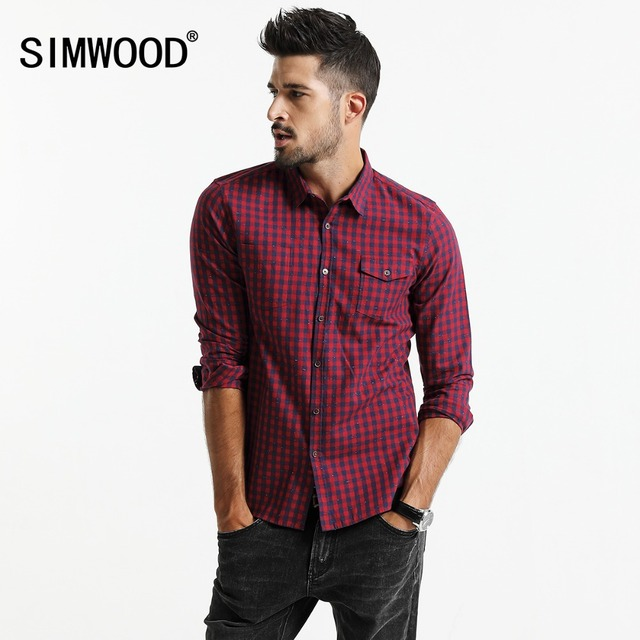 SIMWOOD 2019 spring New  Plaid Shirt Men Long Sleeve Slim Fit Imported Clothing 100% Pure Cotton High Quality Plus Size CC017014