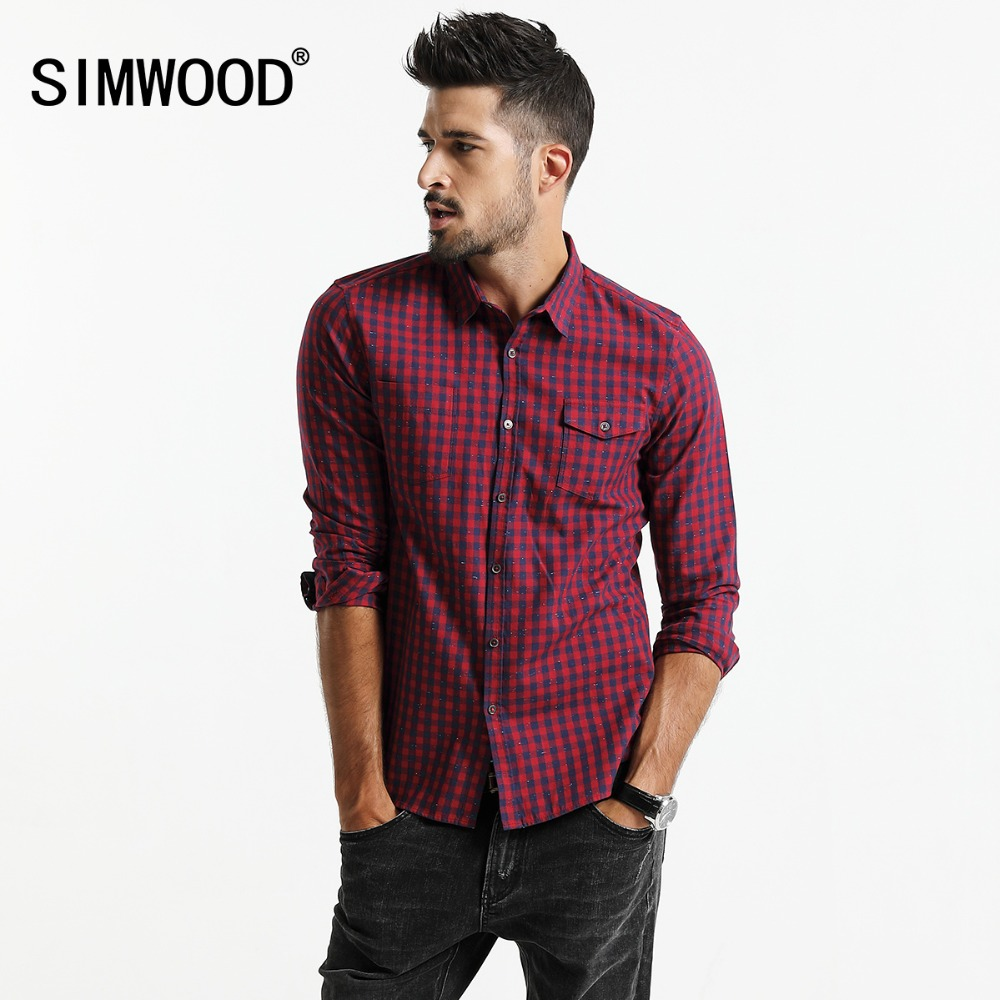 SIMWOOD 2020 spring New  Plaid Shirt Men Long Sleeve Slim Fit Imported Clothing 100% Pure Cotton High Quality Plus Size CC017014|plaid shirt men|shirt men long sleeveshirt men - AliExpress