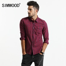 SIMWOOD 2020 spring New  Plaid Shirt Men Long Sleeve Slim Fit Imported Clothing 100% Pure Cotton High Quality Plus Size CC017014