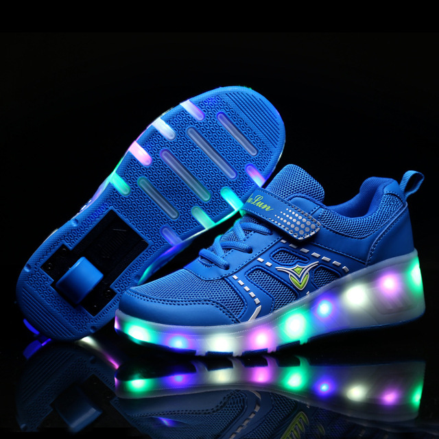 Size 27-43// Single Wheel Roller Skate Shoes PU Leather Skating Shoes Girls Boys  Glowing Light Shoes Pulley Shoes