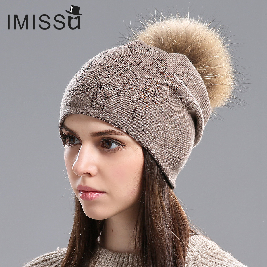 IMISSU 2017 Fashion female hats Winter Beanie Hat for Women Knitted Wool Skullies  Casual Cap with Real Raccoon Fox Fur Pompom autumn winter hats for women knitted beanie hat pom pom cap wool hat with real raccoon fur pompom female skullies beanie hats