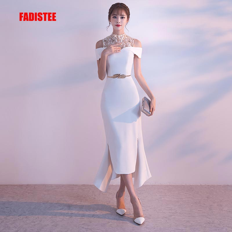 FADISTEE 2019 New arrival   cocktail   party prom   Dresses   Vestido de Festa lace ivory tea length style sexy see through backless