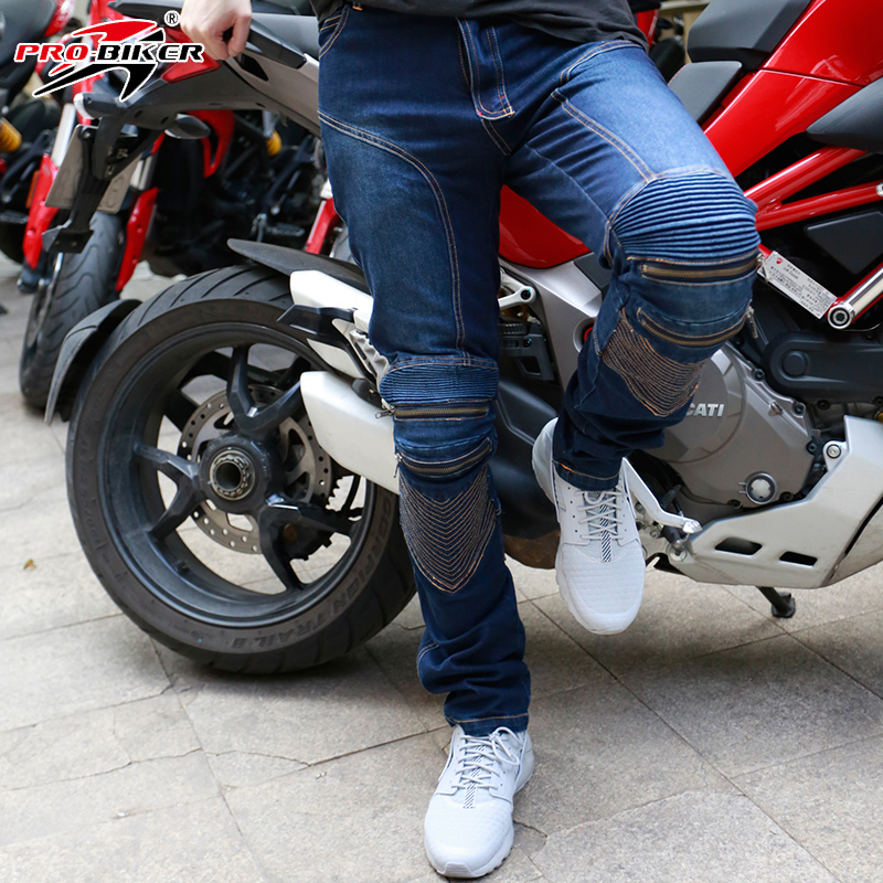Motorcycle Leisure Pants Casual Pants Men's Motorbike Motocross Off-Road Knee Protective Moto Jeans Trousers CE Protection цена