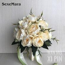 Hochzeit Bouquet Hochzeit Bouquet Handgemachte Künstliche Blume Rose Braut Bouquet hochzeit braut blume blume mädchen zauberstab