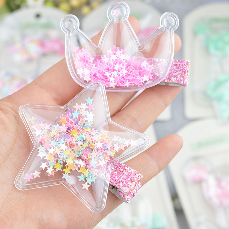 YYXUAN Transparent PU With Colorful Sequin Hair Clips Kids Stars Lovely Crown Hairpin