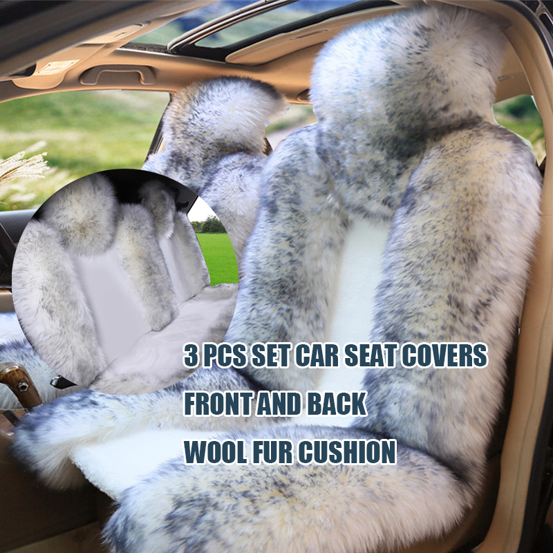 3pcs/set Australian Pure Natural Wool Front and Back Car Seat Covers Winter Genuine Sheepskin Fur Wool Car Seat Cushion kawosen 2 pcs 100% australian pure natural fur seat cover sheepskin winter car seat cover wool seat warm car seat covers lwsc02