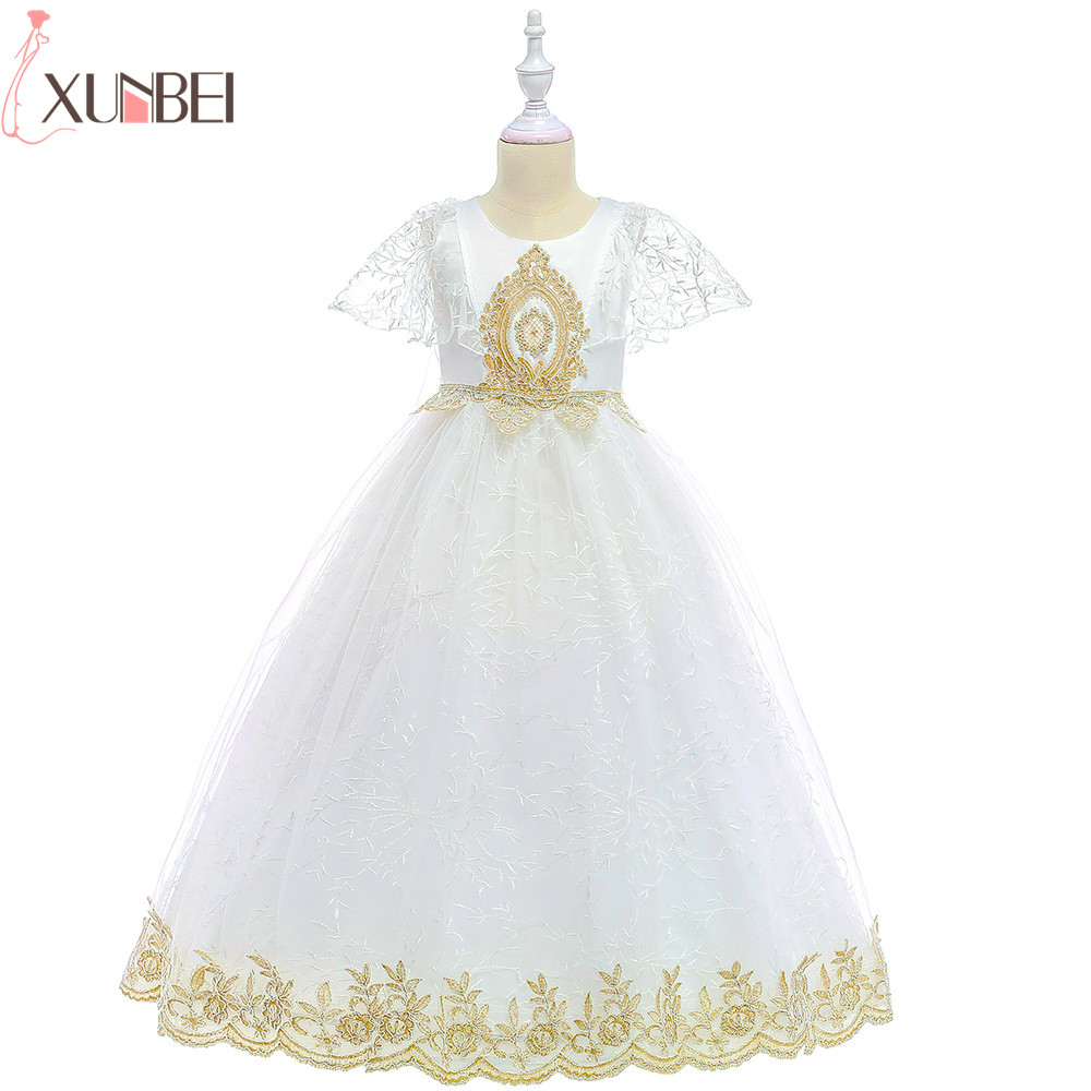 Beautiful Lace   Flower     Girl     Dresses   2019 Tulle Appliqued Pageant   Dresses   For   Girls   First Communion   Dresses   Kids Prom   Dresses