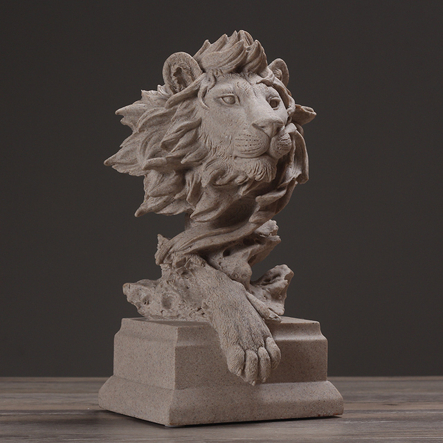 Abstract Lion Head Sculpture Sandstone Wildlife Bust Stoneware Artwork Souvenir Gift Craft Ornament for Home and Office Decor
