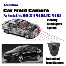 Liandlee Car Front View Camera Small Logo Embedded 4.3 LCD Screen Monitor Cigarette Lighter For Honda Civic 2011-2018 FB4 FG3