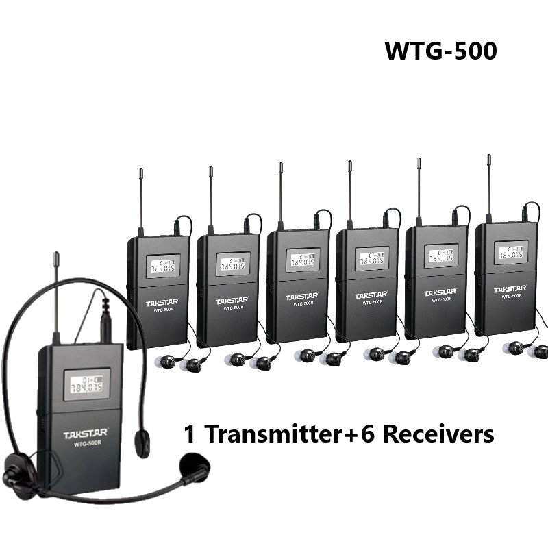 Takstar WTG500 / WTG 500 UHF Wireless audio system for Tourist guide/Simultaneous interpretation 1 Transmitter + 6 Receivers-in Phone Earphones & Headphones from Consumer Electronics    1