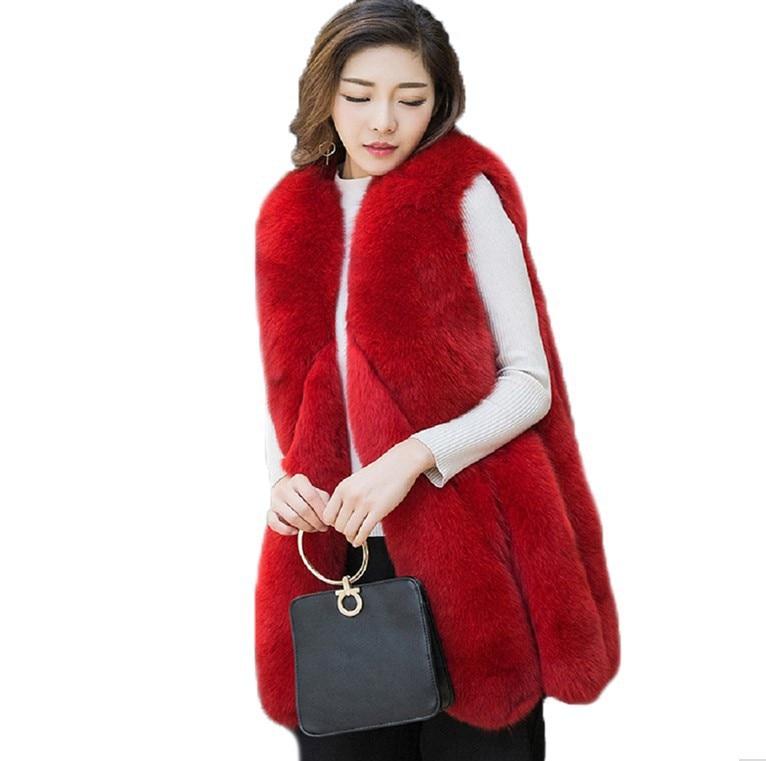 Pour D'hiver ardoisé De Imitation Et gris blanc rose Rouge Manteau Nouvelle Femmes noir Femme Faux Haute Automne Vêtements Fourrure Mode Gilet Renard xqwCCIPY1