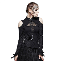 Punk new products gothic small stand collar vintage strapless t shirt women