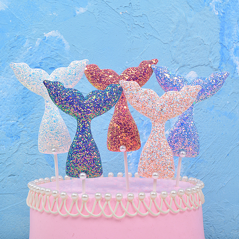 10PCS Cupcake Toppers Insert Cards Sequins for Birthday Party Wedding Decoration