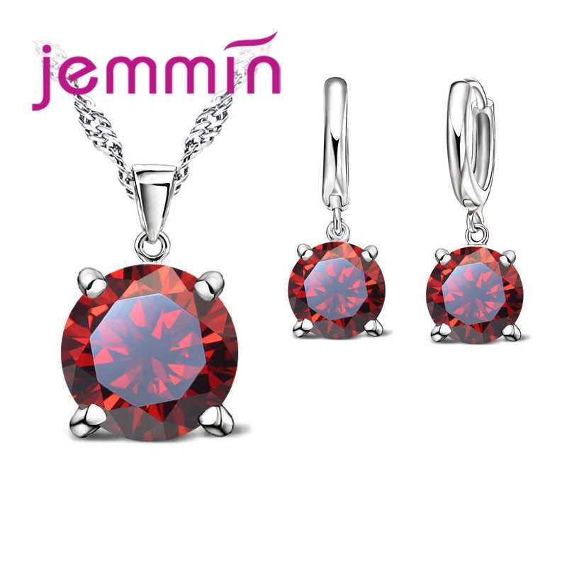 Fashion Jewelry Set  925 Sterling Silver Pendant Necklace&Earrings Shiny Romantic Gift For Lover/Girlfriend/Sister Color