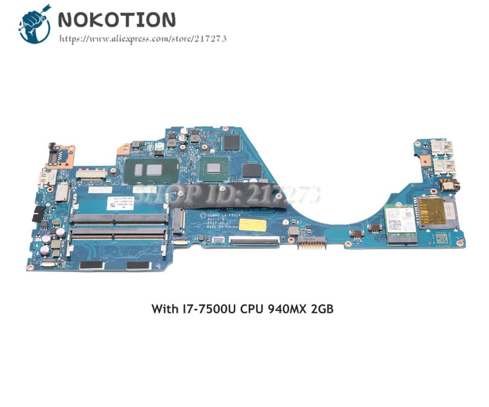 NOKOTION 930576-601 930576-001 For HP 14-BF 14-bf058TX Laptop Motherboard DCM40 LA-F031P 940MX 2GB I7-7500U CPUNOKOTION 930576-601 930576-001 For HP 14-BF 14-bf058TX Laptop Motherboard DCM40 LA-F031P 940MX 2GB I7-7500U CPU