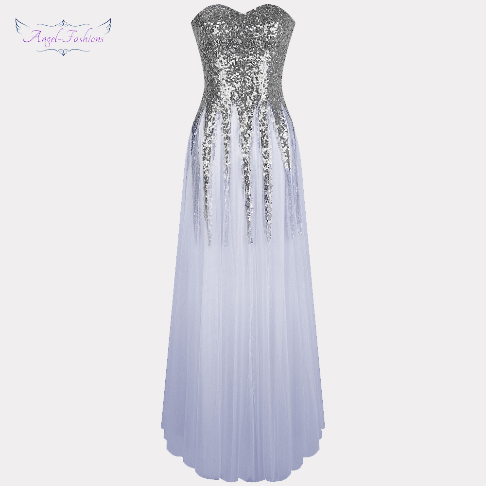 Angel-fashions Women's Illusion   Prom     Dresses   Sweetheart Lace Up Tulle Party Gown Light Gray 106