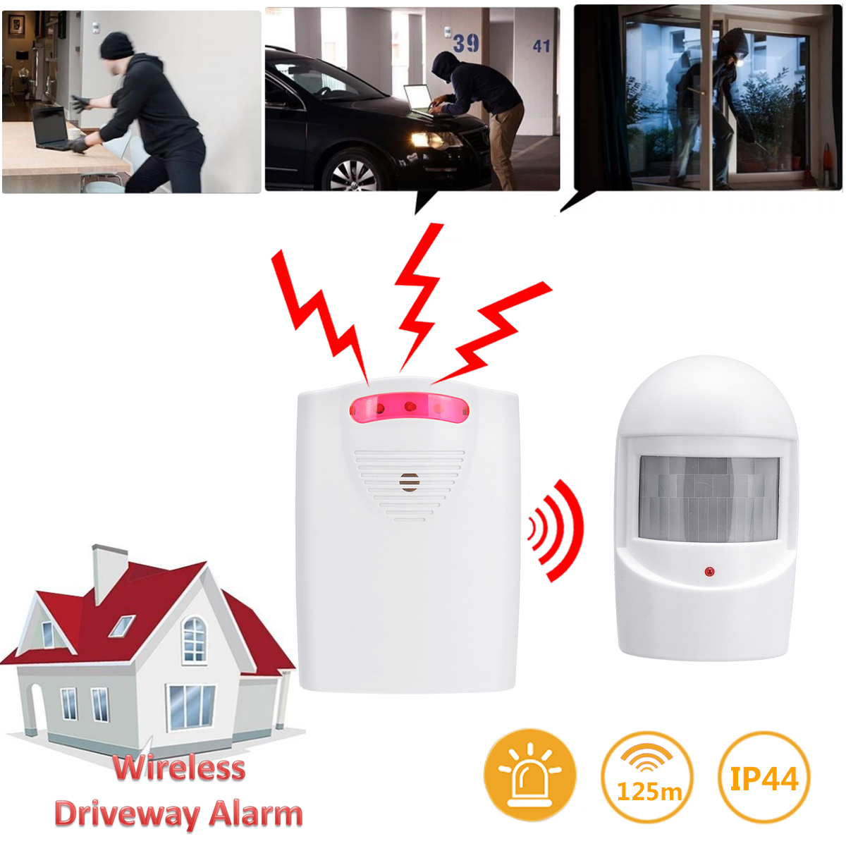 NEW Wireless Driveway Alarm Alert System Home Security Garage Shed PIR Motion Sensor