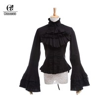 ROLECOS Gothic Lolita Blouse Victorian Women Shirt Retro Medieval Lace Lolita Blouse Tops SK for Tea Party Plus Size Long Sleeve(China)