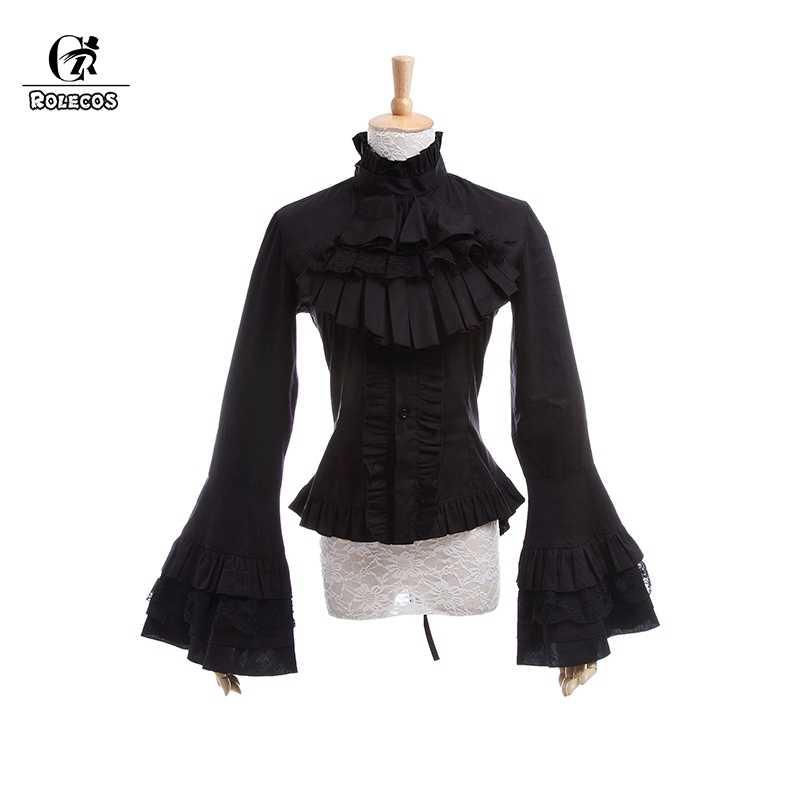 19c828543bb ROLECOS Gothic Lolita Blouse Victorian Women Shirt Retro Medieval Lace  Lolita Blouse Tops SK for Tea