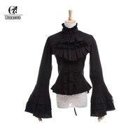 ROLECOS Gothic Lolita Blouse Victorian Women Shirt Retro Medieval Lace Lolita Blouse Tops SK for Tea Party Plus Size Long Sleeve