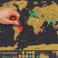 Deluxe Мини Царапинам Карта Мира Путешествия Размер Издание Сотрите World карта Черный и Золотой Сотрите Карта Pefect Подарок Развивающие Игрушки